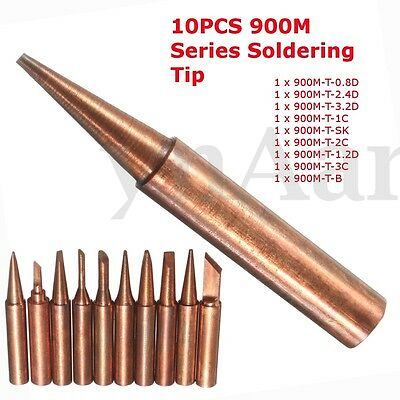 10PCS 900M-T Series Soldering Solder Tips Pure Copper Electric Iron Head Tool
