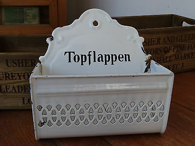 P2356  EMAIL Wandbehälter - Emaille -Topflappen - ca. um 1920 - Bing