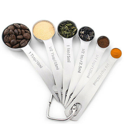 NEW 18/8 Stainless Steel Measuring Spoons, Set of 6 for Measuring Dry and Liquid