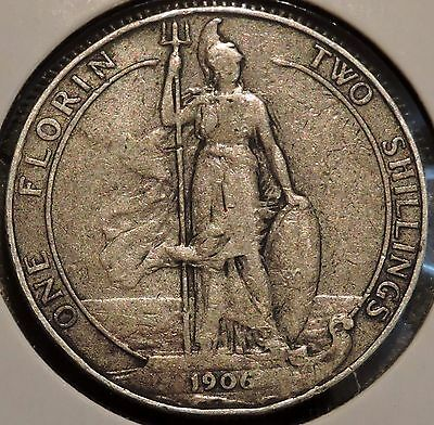 British Florin - 1906 - Big Silver Coin - $1 Unlimited Shipping