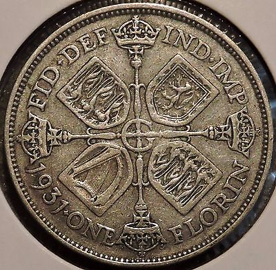 British Florin - 1931 - Big Silver Coin - $1 Unlimited Shipping