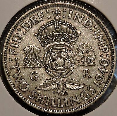 British Florin - 1940 - Big Silver Coin - $1 Unlimited Shipping