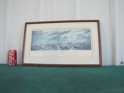 Antique Print Right Whaling Off The Northeast Coast Framed and Matted