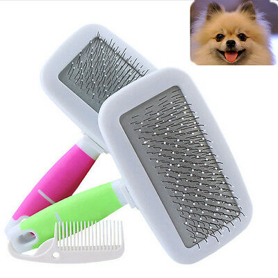 Handle Pet Brushes Hair Brush Pin Dog Cat  Fur Grooming Trimmer Comb Tools S&L