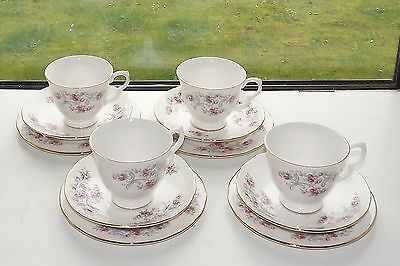 Gainsborough Bone China 4 x Trios Cup Saucer Plate Floral Pink Roses Grey Swags