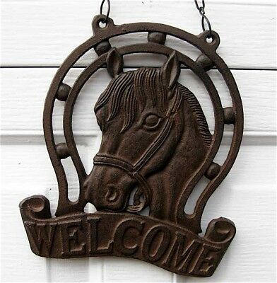Horse Welcome Plaque  Cast Iron Rust Finish
