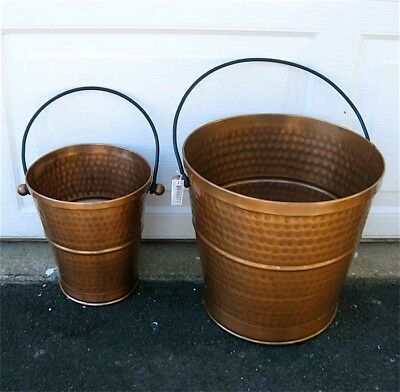 Copper Antique Finish Decorative Pails Set of 2