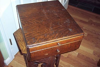 Antique 2 draw Tiger counter top store display advertising cabnet