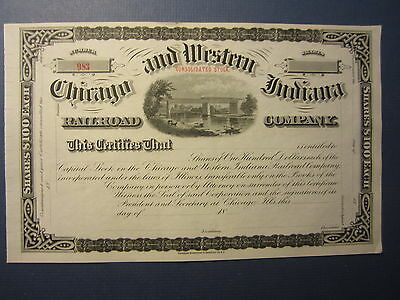 Old 1800's - CHICAGO and WESTERN INDIANA - RAILROAD COMPANY - Stock Certificate