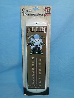 """John Deere Classic Wall Mount Metal Thermometer, """"Celebrating 160 Years"""", New"""