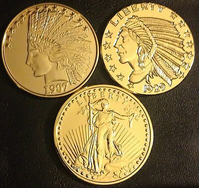 Lot Of 3 Different 24K Gold Plated 1 Oz Copper Rounds - Us Gold Coin Designs