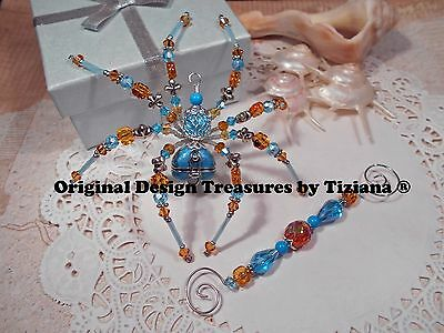 TreasuresbyTiziana® Topaz Aquamarine Heart Dream Prayer Turquoise Box Spider