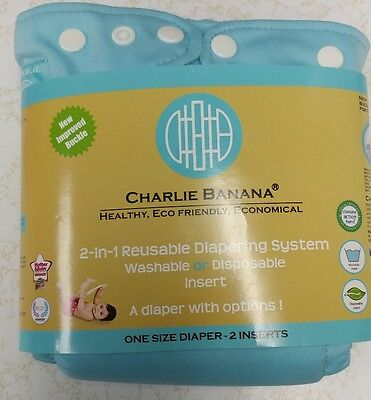 Charlie Banana  2-in-1 One Size Reusable Diaper Blue  One Size Eco Friendly
