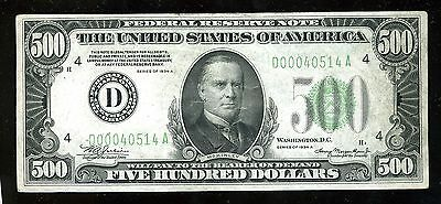 $500 Federal Reserve Note Series 1934 A D0040514A FR2202