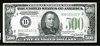 $500 Federal Reserve Note Series 1934 B00165432A FR2201