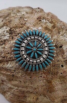Zuni Petit Point Pin Or Pendant Turquoise, Sterling Silver, Braid And Drops