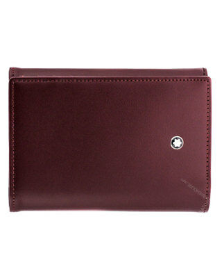 montblanc meisterstck business card holder burgundy leather 114539 new in box - Mont Blanc Business Card Holder