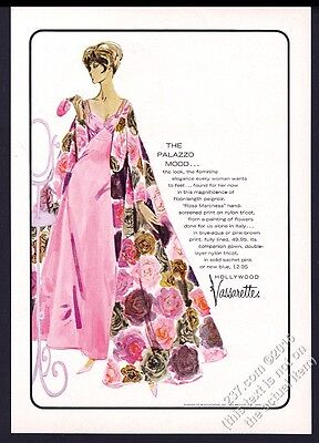 1962 Hollywood Vassarette lingerie woman in pink peignoir vintage print ad