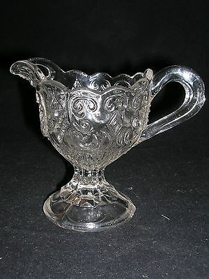 Eapg - Childs Toy Flint Glass Cream Pitcher - Princes Feather - Circa 1870'S