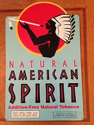 "Teal American Spirit Advertising Tobacco Cigarette Sign Indian Vintage 19""x12"""