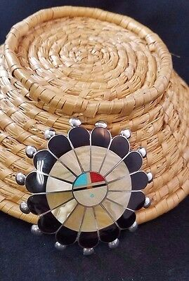Zun Inlay Onyx, Shell, Coral And Turquoise. Large Pin Or Pendant