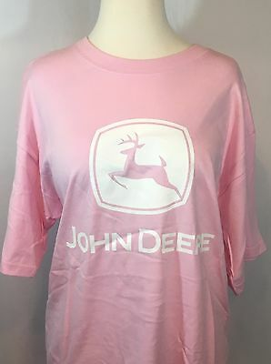 NWT John Deere LADIES LOGO T-SHIRT SIZE LARGE Deer NOS Licensed PINK 100% COTTON