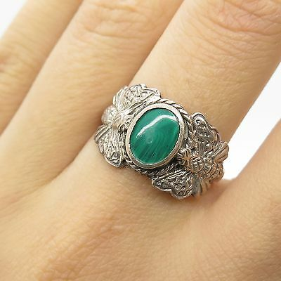 Vtg 925 Sterling Silver Real Malachite Gemstone Unique Butterfly Ring Size 6/5