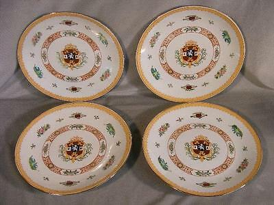 "Set 4 Vintage Chinese Export Style Armorial 12"" Porcelain Plates"