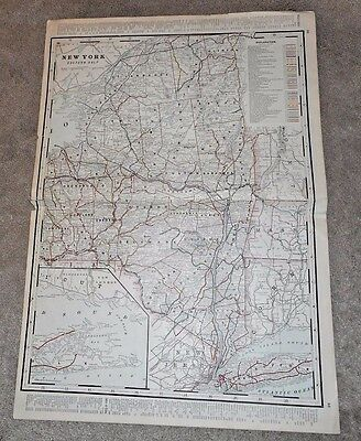 1892 New York State Color Map Central & Eastern Half