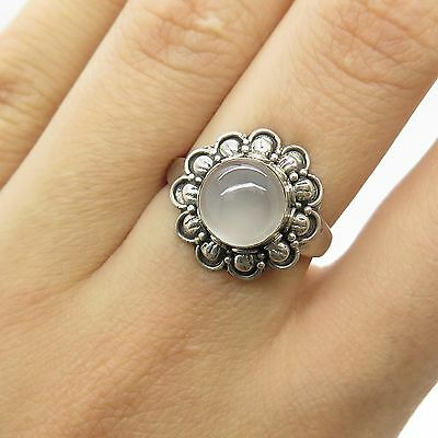Vtg 925 Sterling Silver Real Chalcedony Gemstone Unique Design Ring Size 4.5