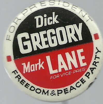 Dick Gregory, Mark Lane Freedom, Peace Party Pin