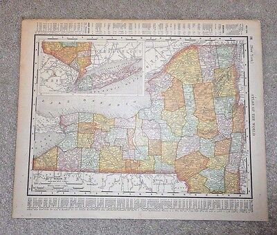 1895 Rand Mcnally Color Map New York  & Conneticut States