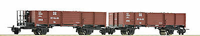 "Roco H0e 34589 Ballast Wagon Set the DR ""loaded with With real gravel"""
