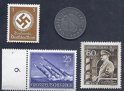 Nazi Germany 3rd Reich 1940 E 10 Rpf Swastika Coin & Hitler WW2 ERA Stamp Lot #4