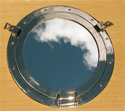 "Brass Porthole Mirror 20"" w/Nickel Finish"