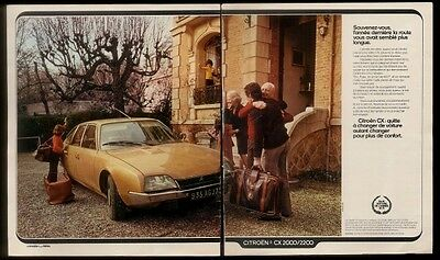 1975 Citroen CX gold car & family  photo French print ad