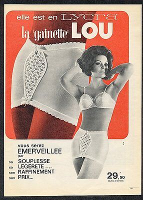 1963 Lou lingerie woman in bra panty 2 photo French ad