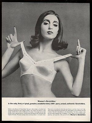 1964 Warner's Stretchbra lingerie bra pretty woman photo vintage print ad