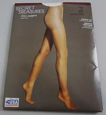 a70353011 Secret Treasures Control Top Firm Support Silky Sheer Pantyhose-White-Sz.  Plus