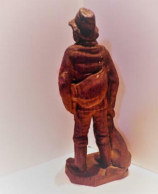 """Vintage Hand-Carved Wood Hunter Man with Dog and Rifle Gun 7"""""""