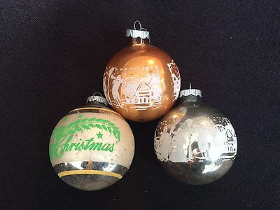 Lot of 3 Vintage SCENE Mercury Glass Christmas Ornaments GOLD silver