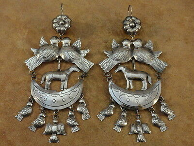 BIG Mexican Mexico Sterling Silver Frida Earrings
