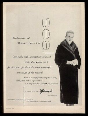 1955 Fouke Matara Alaska fur coat & woman photo vintage fashion print ad