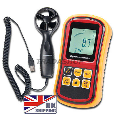 UK Anemometer Wind Speed Meter Thermometer 0~45m/s Velocity °C/°F Bar Graph Surf