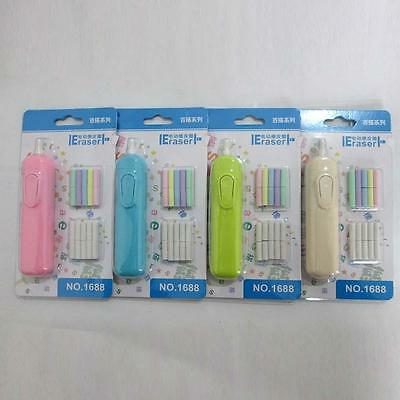 Handy Electric Eraser Battery Operated with Refills For School Student Office DF