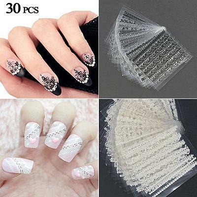 30 Sheets 3D Lace Nail Art Stickers Black White DIY Tips Decal Manicure ToolsSB