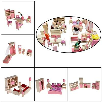 Wooden Furniture Dolls House Miniature 5 Room Set Doll Toy Gift For Children Kid