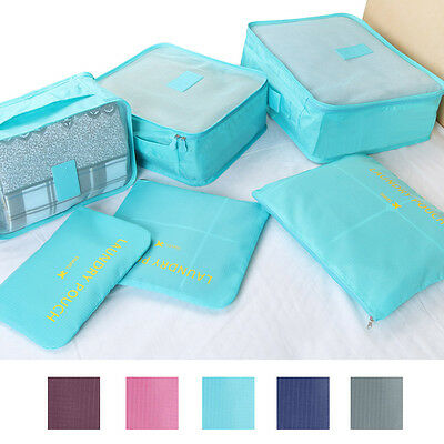 6Pcs Clothes Storage Bags Packing Cubes Travel Suitcase Luggage Organizer Pouch