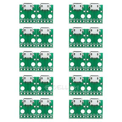 10Pcs Micro USB To Dip Converter B Type Micro 5P Female SMD to DIP Plug Board