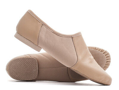 Tan Nude PU Pull On Rubber Split Sole Jazz Dance Practice Shoes Katz All Sizes